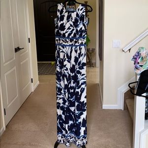 Blue and white long maxi